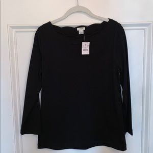 NWT J. Crew Scalloped Neck Long Sleeve Tee